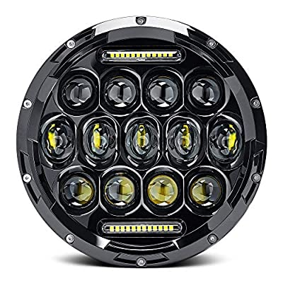 """Yolu 7"""" Inch 75W CREE LED Headlights Hi/Lo Beam 10920LM with Daytime Running Light (DRL) Fits Jeep Wrangler JK TJ LJ Harley Motorcycle with H4 H13 Adapter"""