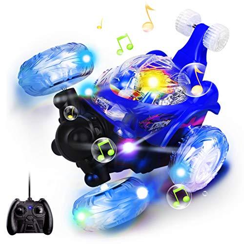 Swonuk Ferngesteuertes Auto, 360° Wiederaufladbar RC Stunt Auto Rennauto mit Musik und LED-Licht, Auto Spielzeug Rennfahrzeug für Kinder Jungen Mädchen (Blau) (Blau)