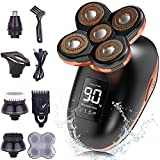 Electric Shaver for Men, Dee Banna 5D 5 in 1 Head Shavers for Bald Men Rotary Shavers Beard Trimmer Grooming Kit Wet Dry, LED Display USB Rechargeable, Cordless Waterproof Electric Shaver