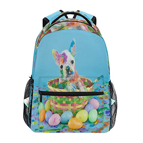 ALAZA French Bulldog Puppy Easter Basket Backpack Daypack College School Travel Shoulder Bag