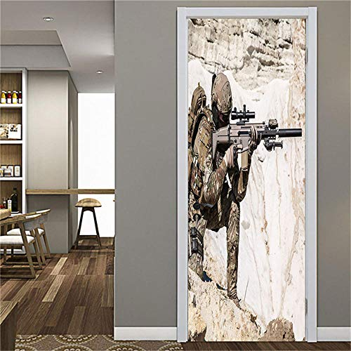 MZNVTD 3D Pegatinas Puertas Papel Pintado Poster 90X205Cm Francotirador Soldado Juego Para Oficina Sala Niño Dormitorio Autoadhesivo Impermeable Removable Vinilos Moderno Interiores Decoración Murales
