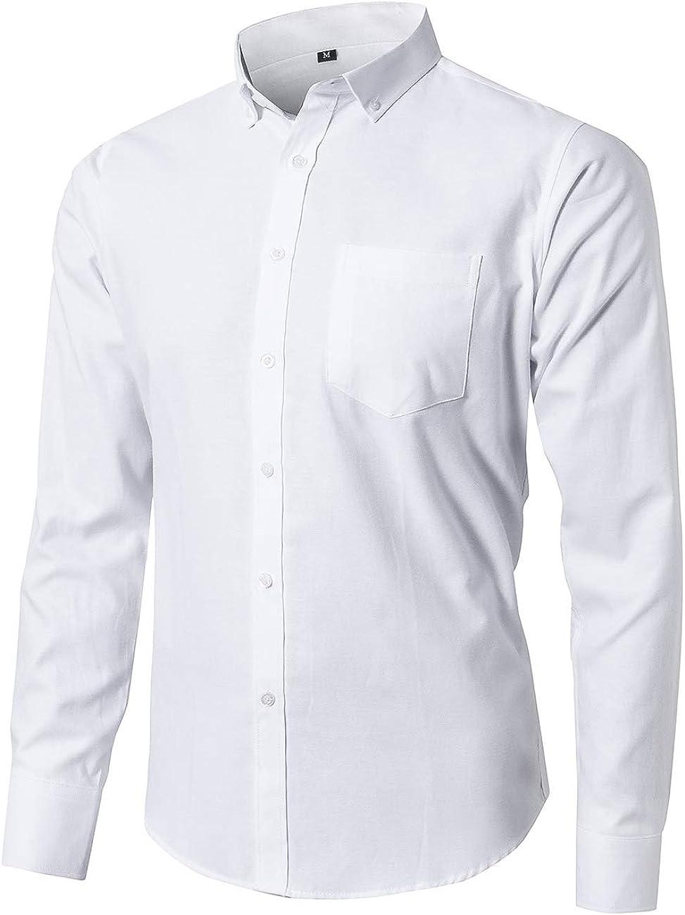 JEETOO Oxford Dress Shirts for Men Long Sleeve Button Down Shirt