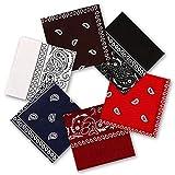 6 piezas Paisley Pañuelo, 55 x 55 cm Pañuelo Bandanas, Bufanda por la Cabeza Unisex, Paisley Multicolor Bandanas para Cabello, Cuello, Siesta, Deportes