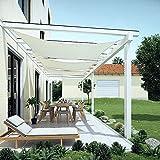 Area - Toldo impermeable rectangular impermeable con accesorios de acero inoxidable para jardín, flores, plantas, gris, tamaño: 5,5 x 7,5 m, color: blanco para