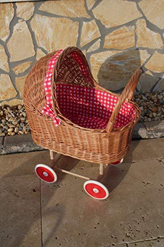 Marcus Puppenwagen aus Weide mit Kissen und Decke Weidenwagen Kinderspielzeug Stubenwagen Kinderwagen Spielzeug