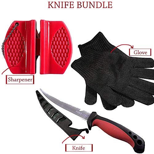 Hike-Tek Premium 6.5 Inch Fillet Knife with Sharpener and Anti-Cut Gloves Included, Stainless Steel Blade- Best Gift Idea