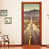 Carta da parati da parati per porta, 3D Desert Expressway, adesivo autoadesivo in vinile rimovibile per la decorazione della casa