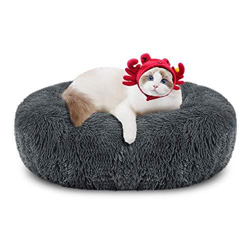 NIBESSER Hundebett Katzenbett weicher Plüsch Haustierbett für Katzen Hundebett Flauschig Kuschelig in Doughnut-Form