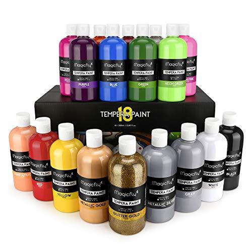 Magicfly 18 Colori a Tempera, Tempere Lavabili Grandi da 380 ml, Colori a Dita per Bambini Atossici, Vernice Bambini con Glitter, Fluorescenti, Neon, Metallici per Dipingere, Fai da Te