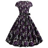 Wellwits Women's Cap Sleeves Music Note Print 1950s Vintage Dress Purple M