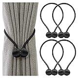 Keetech Alzapaños magnéticos para cortinas, alzapaños decorativos, para casa, salón, dormitorio, oficina, 4 paquetes (negro, 4 paquetes)