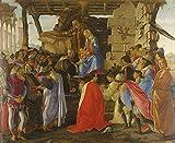 JH Lacrocon Sandro Botticelli - Adoración Magos Reproducción Cuadro sobre Lienzo Enrollado 100X80 cm - Pinturas Religioso Impresións Decoración Muro