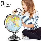 BAKAJI Mappamondo Lampada da Tavolo con Accensione Touch 3 Regolazioni Luminosità Globo Cartina Politica Base in Metallo Altezza 33 cm