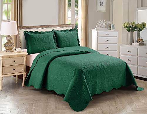 Home Collection 3pc Full/Queen Over Size Elegant Embossed Bedspread Set Light Weight Solid Hunter Green New