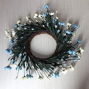 Silk Flower Arrangements ceng-AIO Artificial Flowers Blue Camellia Wreath Spring Wreath Outdoor for Front Door