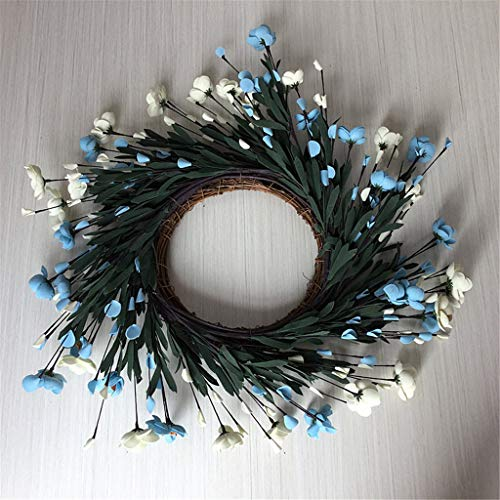 ZHENXI Wreath, Artificial Flowers Blue Camellia Wreath Spring Wreath Outdoor for Front Door