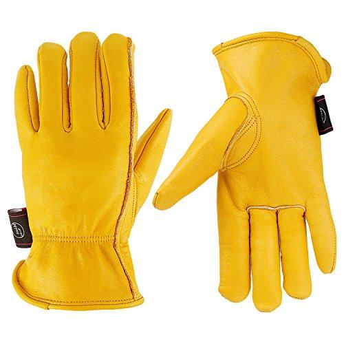 KIM YUAN Leather Work Gloves for Gardening/Cutting/Construction/Farm/Motorcycle, Men & Women, with Elastic Wrist, Medium