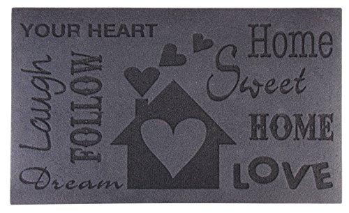 Esschert Design Schmutzfangmatte, Fußmatte mit Motiv Love in grau, ca. 75 cm x 45 cm x 0,5