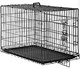 Dog Crate Dog Cage Pet Crate 48 Inch Folding Metal Pet Cage Double...