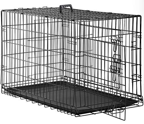 "Dog Crate Kennel Pet Cage for Large Medium Dogs Travel Metal Double-Door Folding Indoor Outdoor Puppy Playpen with Divider and Handle Plastic Tray,48 42 36 30 24 inches (48"" Dog Cage)"