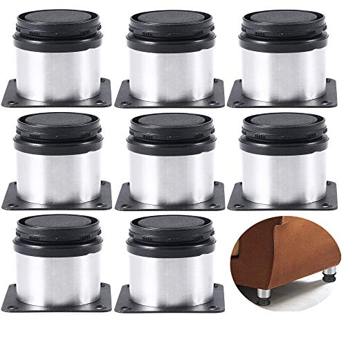Xinlie Gabinete Patas Pies de cocina Encimera Pata de Cocina Patas para Muebles Inoxidable Cocina Patas Regulables Patas para Muebles Altura Regulable Armario de Cocina Pies Redondo(8 Piezas)