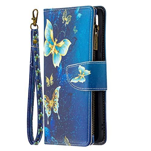Miagon 9 Kartensteckplätzen Lederhülle für Xiaomi Poco F3,Bunt Reißverschluss Flip Hülle Wallet Hülle Handyhülle PU Leder Tasche Schutzhülle,Gold Schmetterling