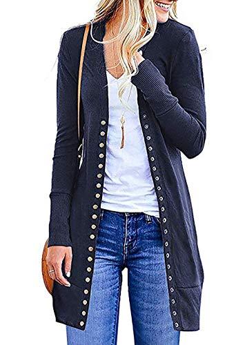 EUFANCE Mujer Invierno Cardigan Jersey de Punto Suelto Color Sólido Chaqueta Botón Suéter para OtoñO Invierno Armada Tamaño S
