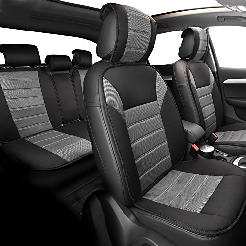 FH Group Universal Fit Complete Set Car Seat Cushion Pad – Cloth (Gray)