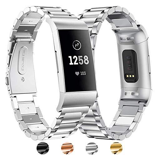 BDIG Für Fitbit Charge 3 Armband Metall, Charge 4 Wasserdicht Edelstahl Metall Handgelenk Ersatzband Armbänder mit Starkem Metallschließe für Fitbit Charge3 Charge 4 (for Fitbit Charge 3/4,Silber)