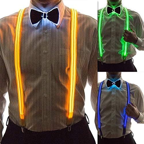 Ajing Kostümzubehör-Sets mit LED-Hosenträgern, vorgebundene Fliege für Festival- und Partyzubehör