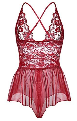 Sosila Damen Babydoll Dessous, Negligee, Nachtwäsche, sexy Dessous, Reizwäsche, Sexy Unterwäsche, Lingerie, Nachtkleid, Spitze Durchsichtig Nachtwäsche, Lingerie Kleid transparent (Rot, One Size)