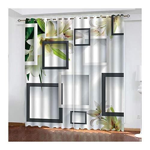 AueDsa Vorhänge Polyester Blume mit Quadrat Weiß Verdunkelungsvorhänge 98% Gardinen Blickdicht 2er Set 264x183CM