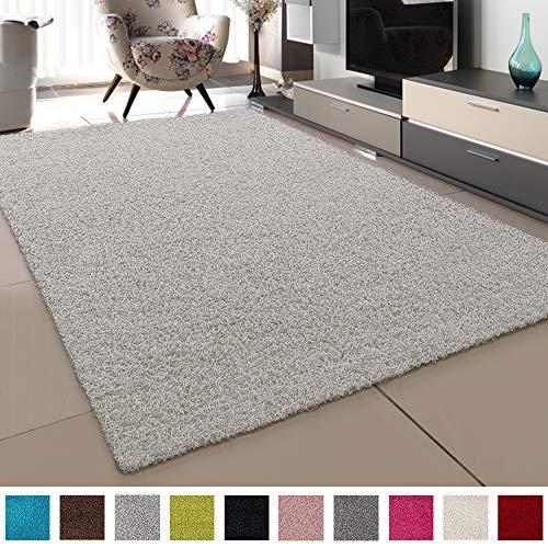 SANAT Teppich Wohnzimmer - Creme Hochflor Langflor Teppiche Modern, Größe: 120x170 cm