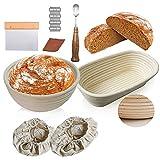 Heionia Juego de cesta de ratán de 25 cm, para pan, redonda, ovalada, para pan,...