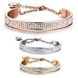 BOBIJOO Jewelry - Bracelet Jonc AcierSerti Cristaux Autrichien Strass Coeur Couleur...