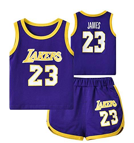 Lakers James # 23 Ärmelloses Baby-Basketballtrikot, Basketball-Uniformoberteil für Kleinkinder und Shorts-blue-73(cm)