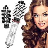Aiskki – Secador de pelo giratorio, multifunción, 3 en 1, cepillo de aire caliente, secador de iones negativo, secador de pelo, voluminizador, alisador de pelo, esponjoso peine