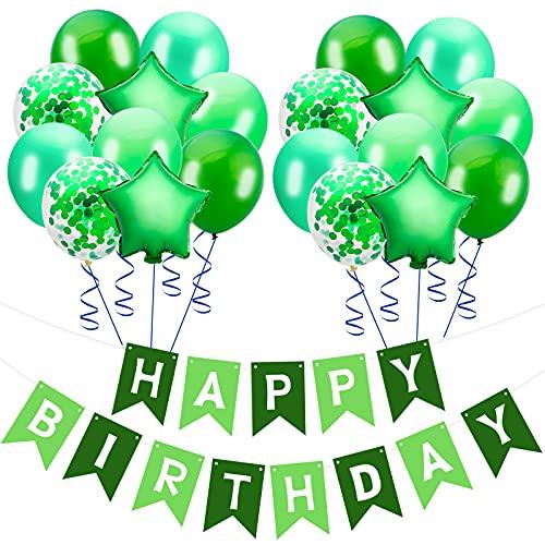 HAPPY BIRTHDAY Banner mit 20pcs Latex-Ballons und Gold Konfetti Ballons für Geburtstag Party liefert Dekorationen Girlande hängenden Dekor für Jungen Mädchen Männer Frauen (Grün)