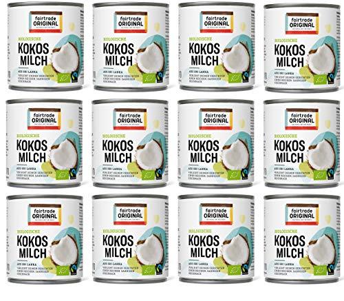 12 x Bio Kokosmilch 270 ml Dose | von Fairtrade Original | aus Sri Lanka | natürliche Kokos Milch Bio ist ideal für asiatische Gerichte | für einen reichen, sahnigen Geschmack | 100% Bio