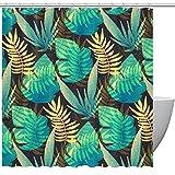 Duschvorhang, tropische Pflaumenblätter, grün-gelbes Muster, Badezimmer-Duschvorhang mit Haken, Kinder-Badezimmerdekoration