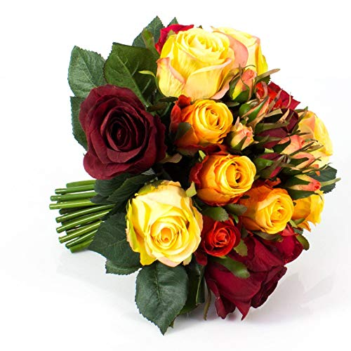artplants.de Künstlicher Rosenstrauß Große - Molly, 15 Rosen, 9 Knospen, rot - orange - gelb, 28cm, Ø 25cm - Blumenstrauß - Kunstrosen