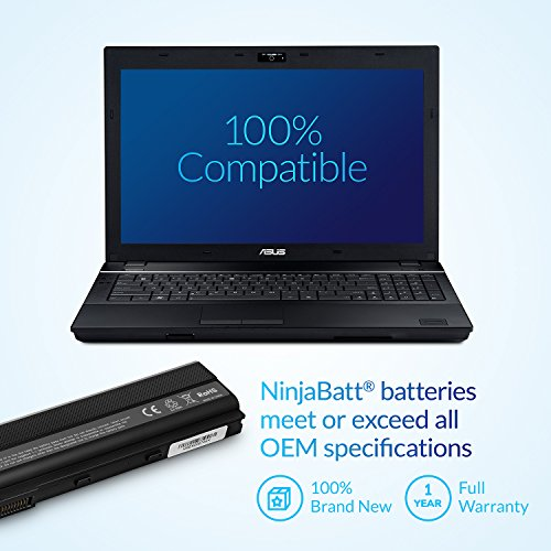 NinjaBatt Laptop-Akku für Asus A32-K52 A42 K52J K52N K42J K42JC A52F A42-K52 X52F K52 A41-B53 K42F A41-K52 K52F A62 X42 X52J A52J A42J K52JC - Hohe Leistung [6 Zellens/4400mAh/48wh]