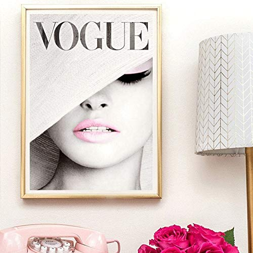 BailongXiao Mode Umhang weißen Hut Leinwand Kunst Wandbild, Modefotografie Leinwand Kunst und Poster,Rahmenlose Malerei,50x67cm