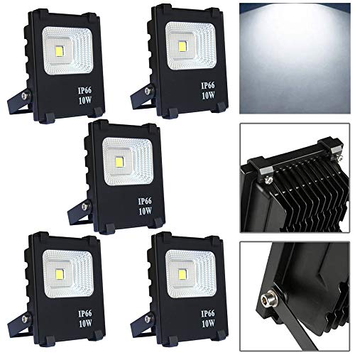 Froadp 5×10W LED Faretto per Esterno Proiettori per Esterni Impermeabile IP66 Illuminazione di Sicurezza Senza Spina per Giardino Corridoio Terrazza Patio(Bianco Freddo)