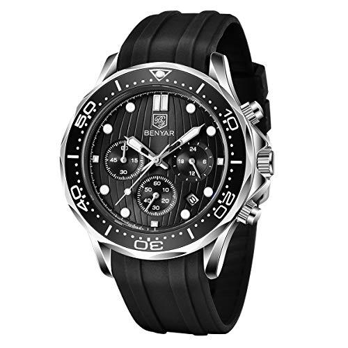 BENYAR Relojes Cronógrafo para Hombre Movimiento Cuarzo Reloj Deportivo de Moda Pulsera de Silicona Impermeable 30M Regalo Elegante