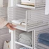 HyFanStr - Organizer impilabile per guardaroba, in plastica bianca, con ripiani staccabili - 33 x 42,5 x 25 cm, plastica, 2 ripiani: S & L., Bianco