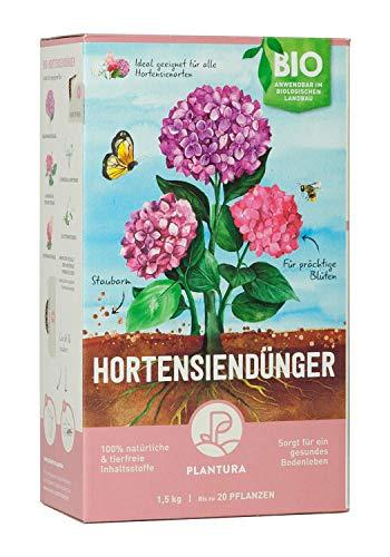 Plantura Bio Hortensiendünger mit 3 Monaten Langzeitwirkung für prächtige Hortensien in Beet & Topf, Bio-Qualität, gut für den Boden, unbedenklich für Haus- & Gartentiere, 1,5 kg