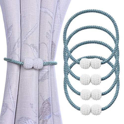 Ubrand Magnetische Vorhang-Raffhalter Clips 4 Stück Vorhang Seil Schnallen Raffhalter Bindung Weben Krawatte Band für Home Office Fenster Deko