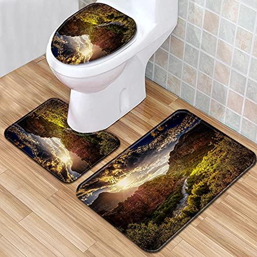 ZFSZSD 3-delad badmatta set halkfri solnedgång & dal sommar badrumsmatta 3 delar för golv badkar dusch sovrum