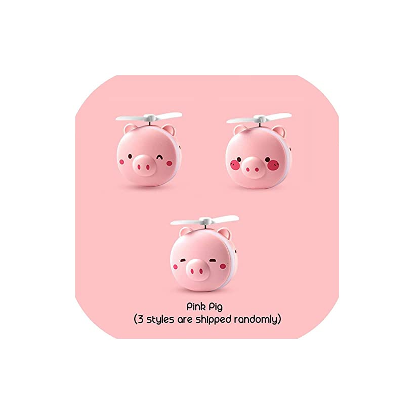 2 in 1 Mini Handheld Fan Portable LED Light Beauty Mirror Cartoon Pig Multifunction USB Rechargeable Cooling Outdoor Small Fan,1